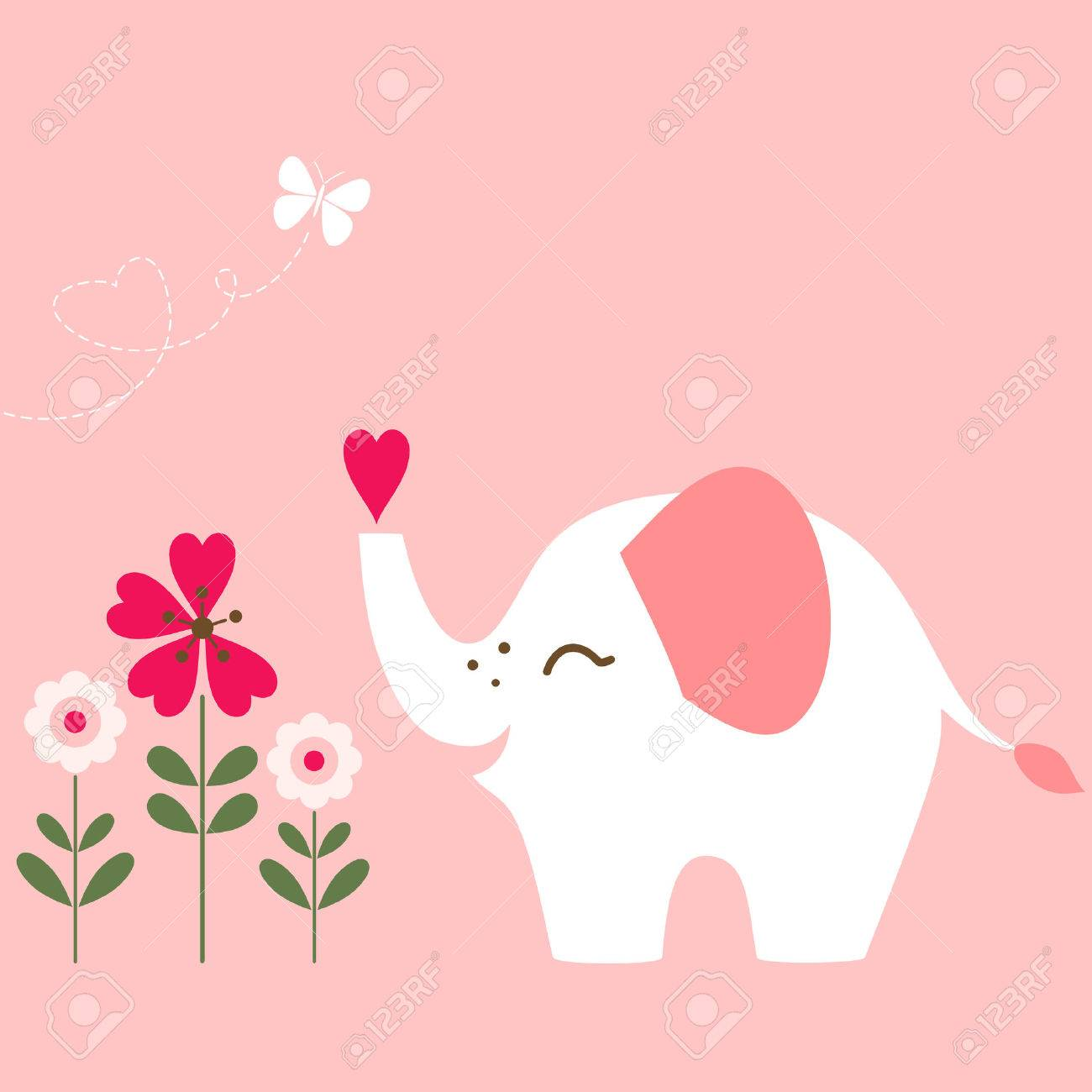 Valentines Day Card With Cute Elephant On Pink Background Royalty – Elephant Valentines Card