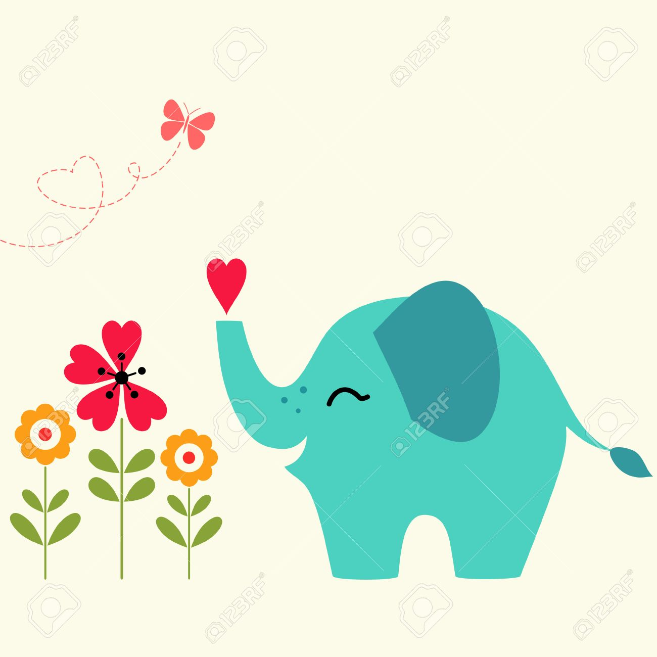 Valentines Day Card With Cute Elephant Royalty Free Cliparts – Elephant Valentines Card