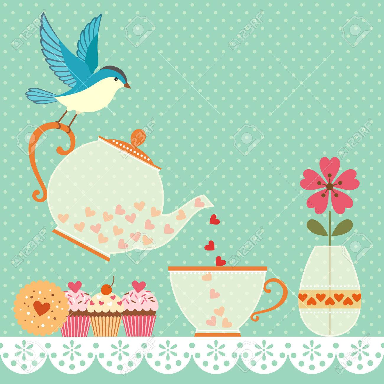 Cup of tea with love Copy space for your text Vector contains transparent objects - 26319038