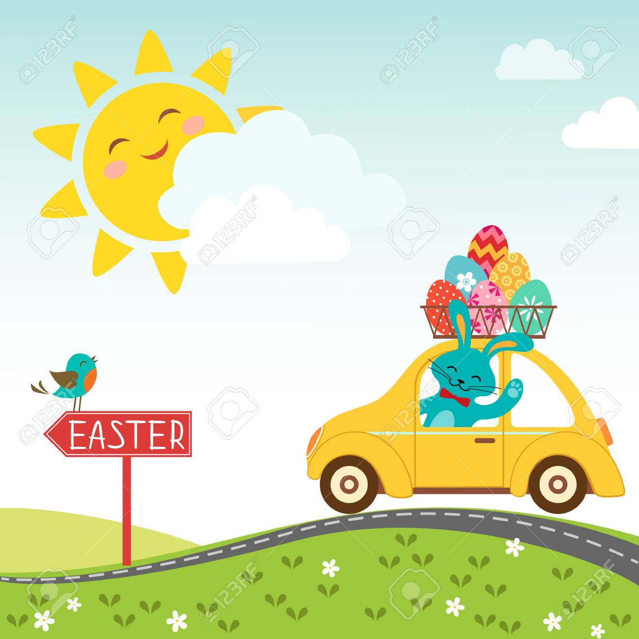 Easter bunny carries eggs for happy Easter - 26319041