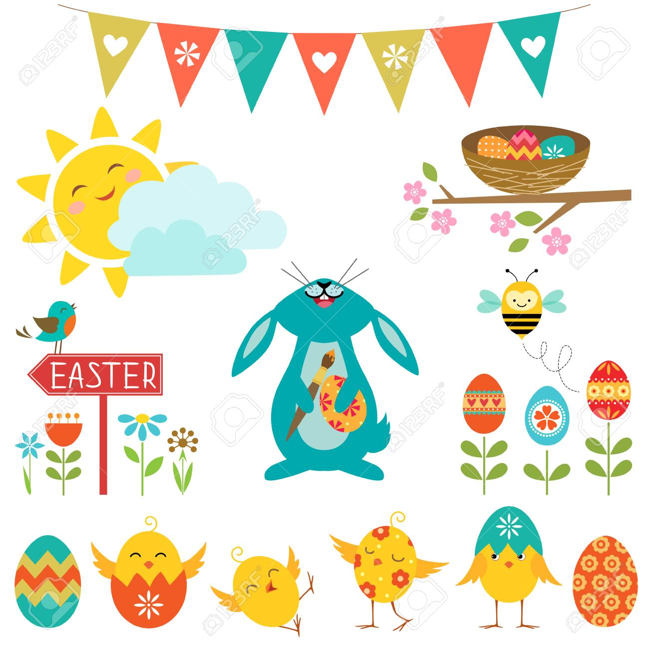 Set of cute elements for Easter design. - 26319045
