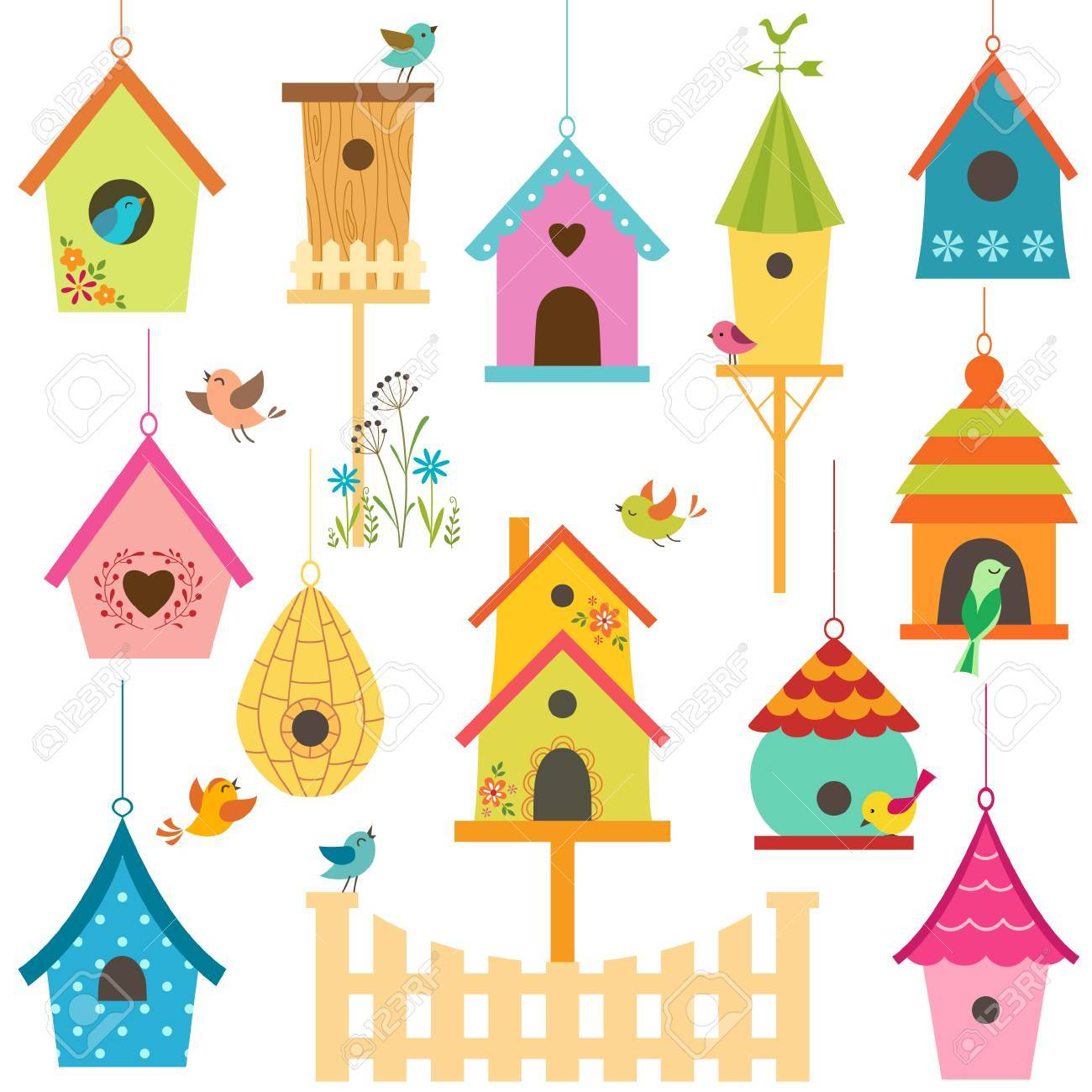Set of colorful bird houses - 27715114