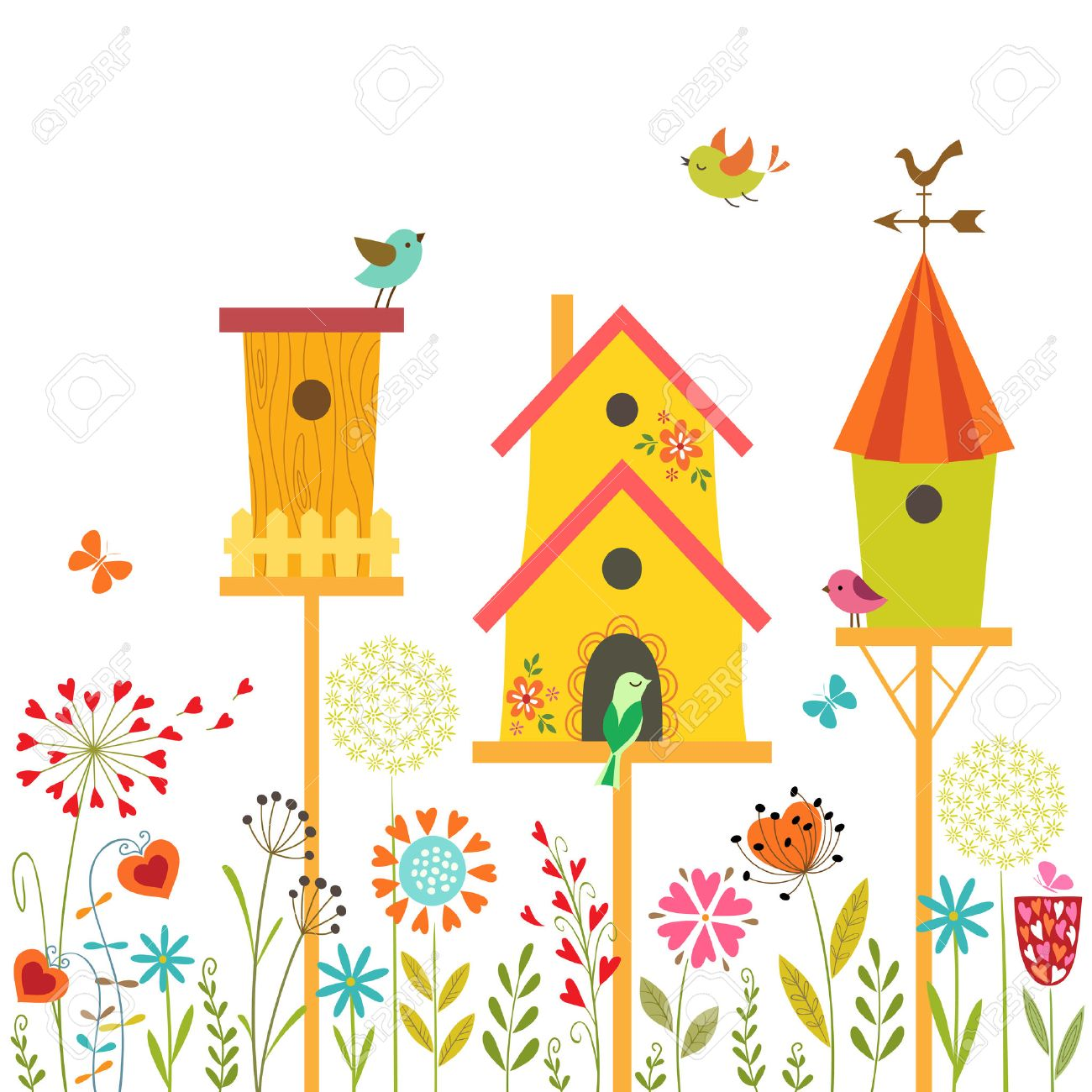 Cute illustration with bird houses, hand drawn flowers and place for text - 27715133