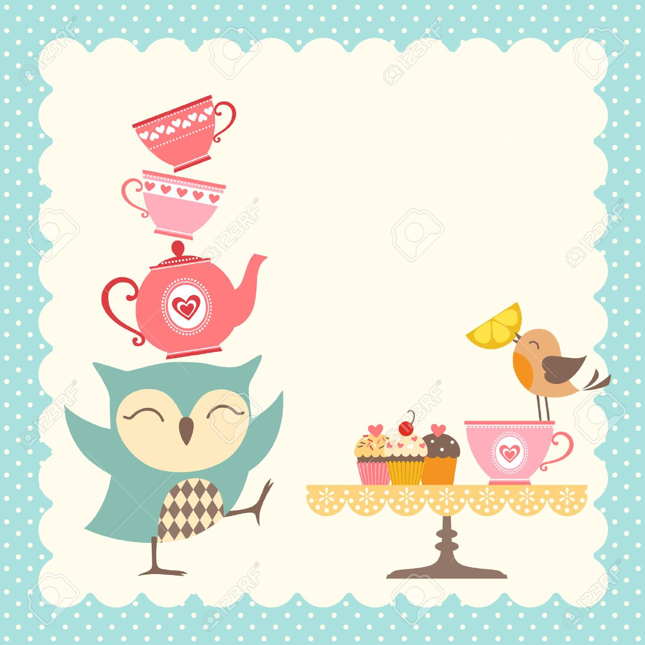 Elegant tea party invitation template with teacups cartoon vector - Tea Party Funny Owl Giving A Very Good Tea Party Illustration