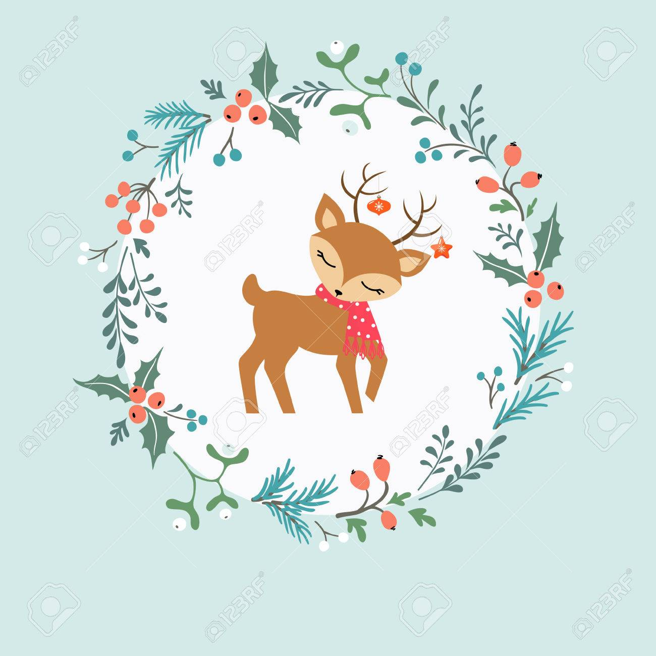 Christmas card with decorative wreath, cute deer and place for your text. - 33021419