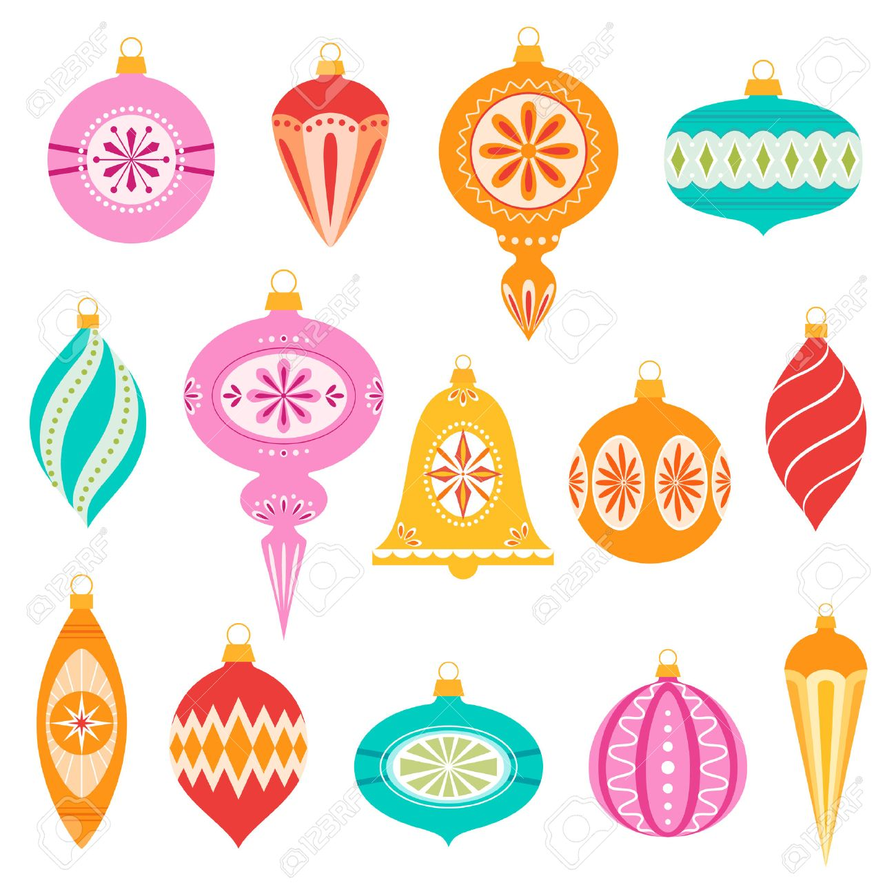 Set Of Retro Christmas Ornaments Stock Vector