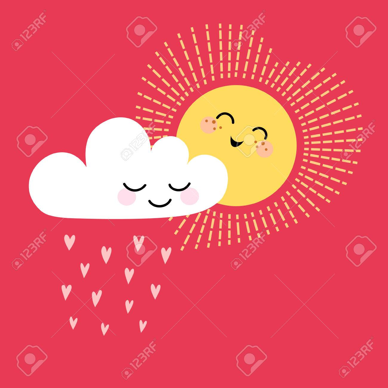 cute valentine card with sun cloud and place for your text royalty