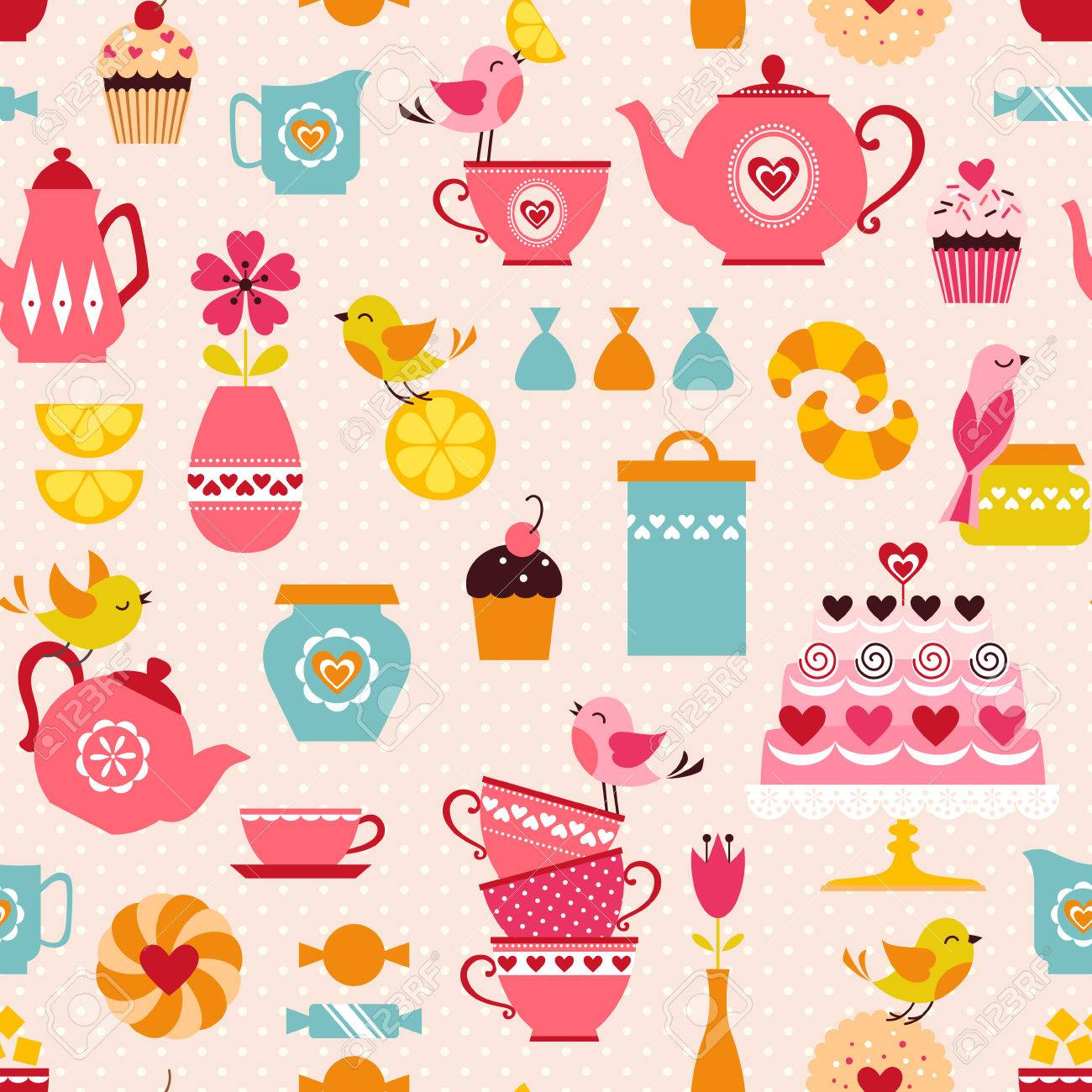 Cute tea time pattern with funny birds. - 33689154
