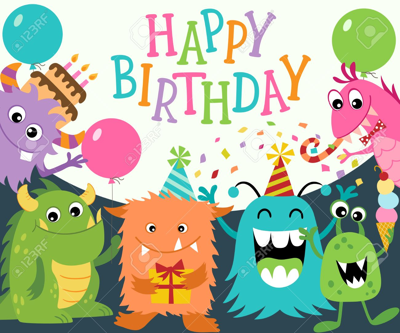 Birthday greeting card with funny cute monsters. Vector is cropped with Clipping Mask. - 34349123