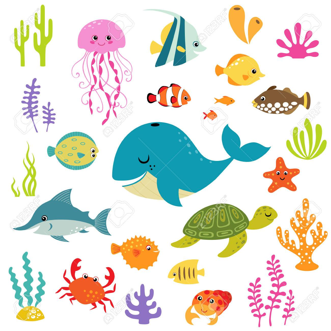 Set of cute cartoon underwater elements for your sea design. - 35405787