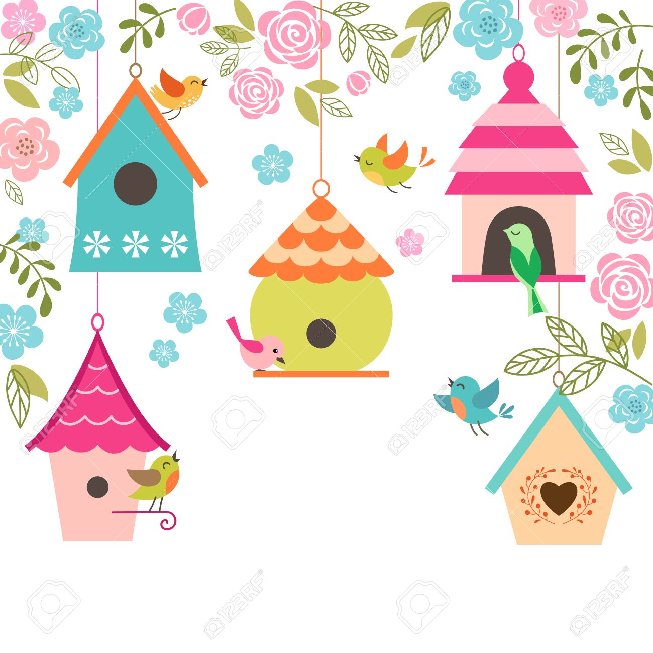 Spring illustration with birds, bird houses, flowers and place for your text. - 36207429