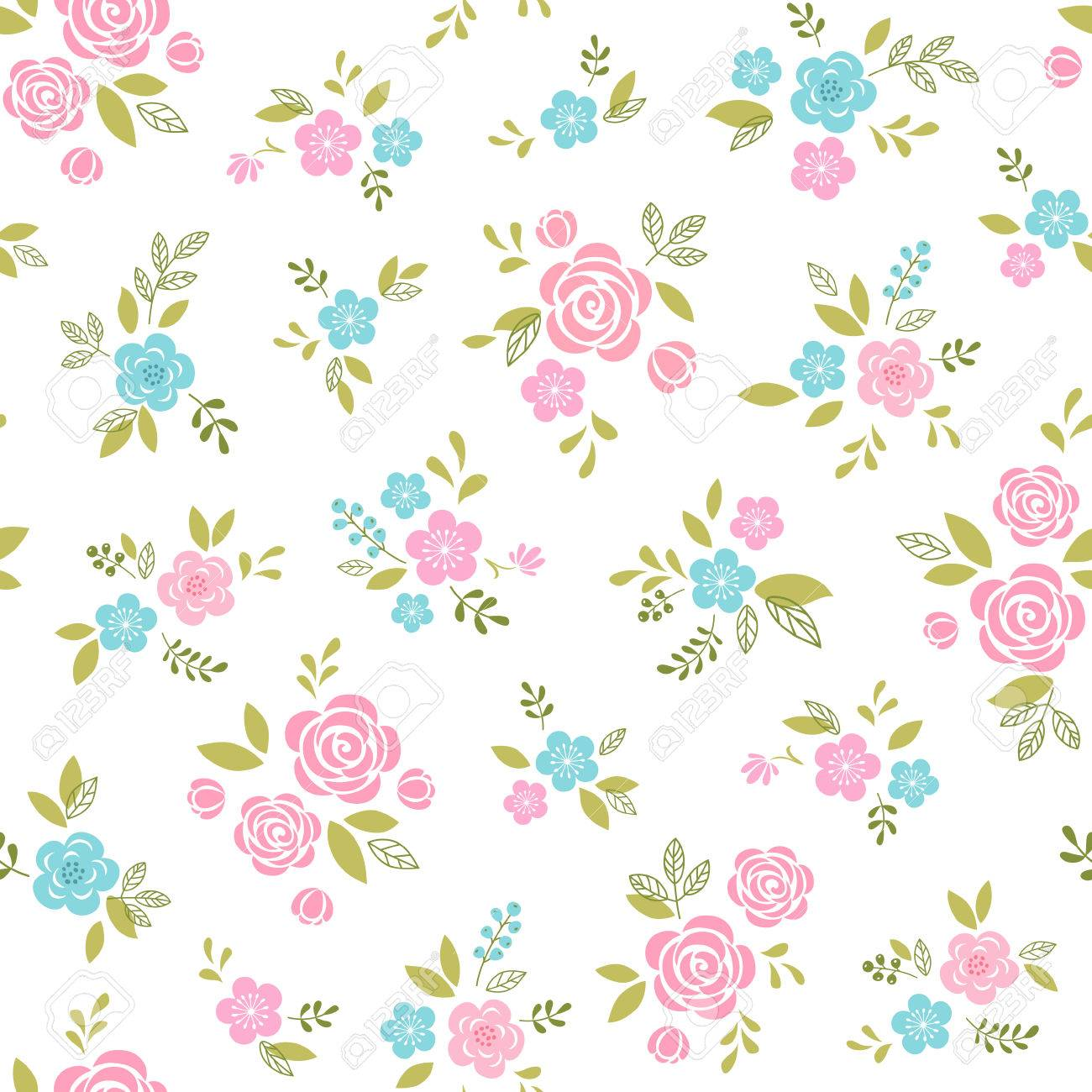 Floral pattern with pink and blue flowers on white background. - 36753505
