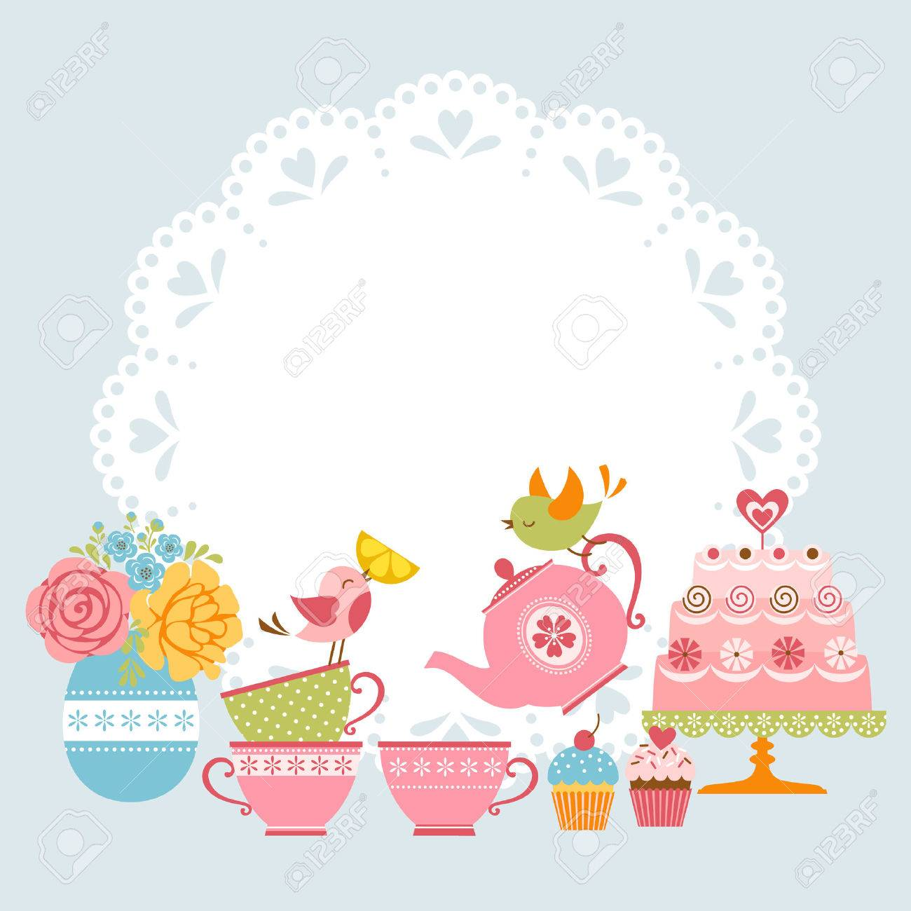 Tea Party Invitation With Cute Birds And Place For Your Text ...