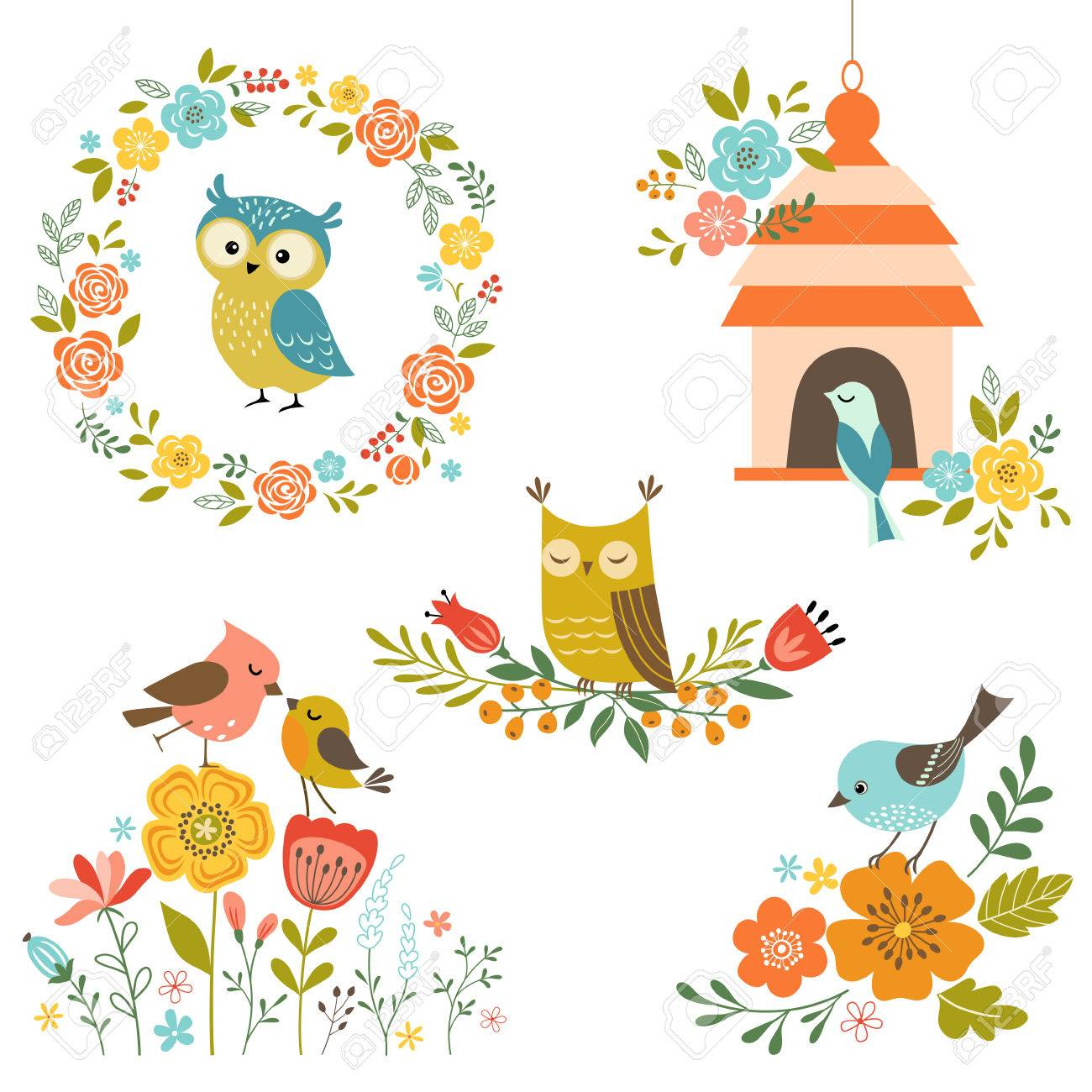Set of design elements with flowers and birds. - 41214414