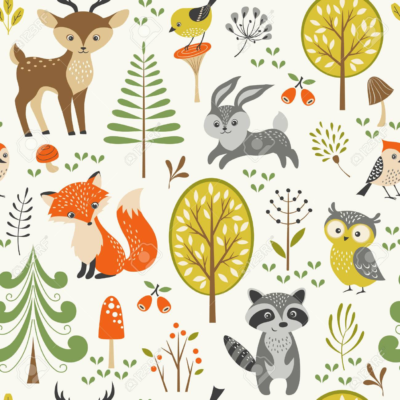 Seamless summer forest pattern with cute woodland animals, trees, mushrooms and berries. - 41214417