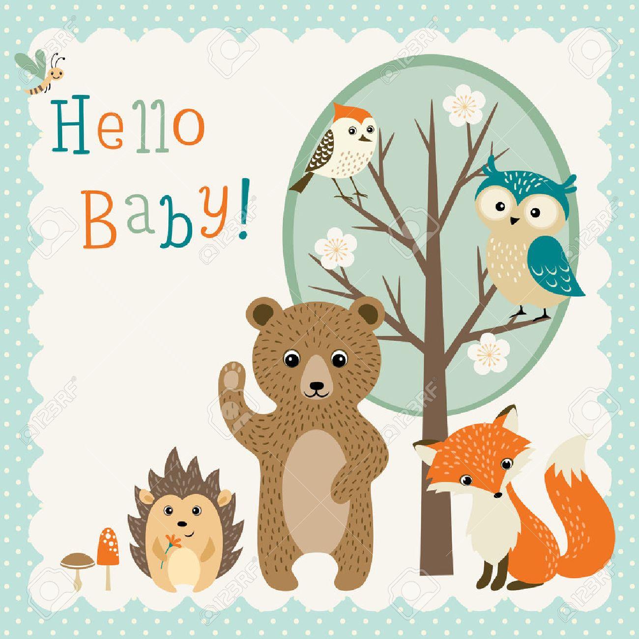 Baby shower design with cute woodland animals. - 41214419