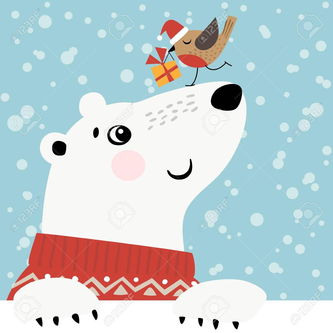 Christmas greeting card with polar bear and little bird. - 44418781