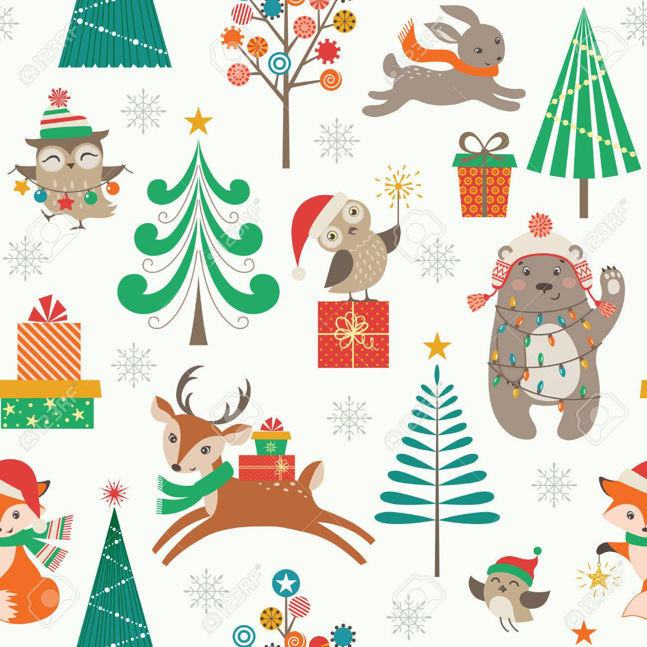 Cute Christmas pattern with woodland animals, Christmas trees and gifts - 47012643