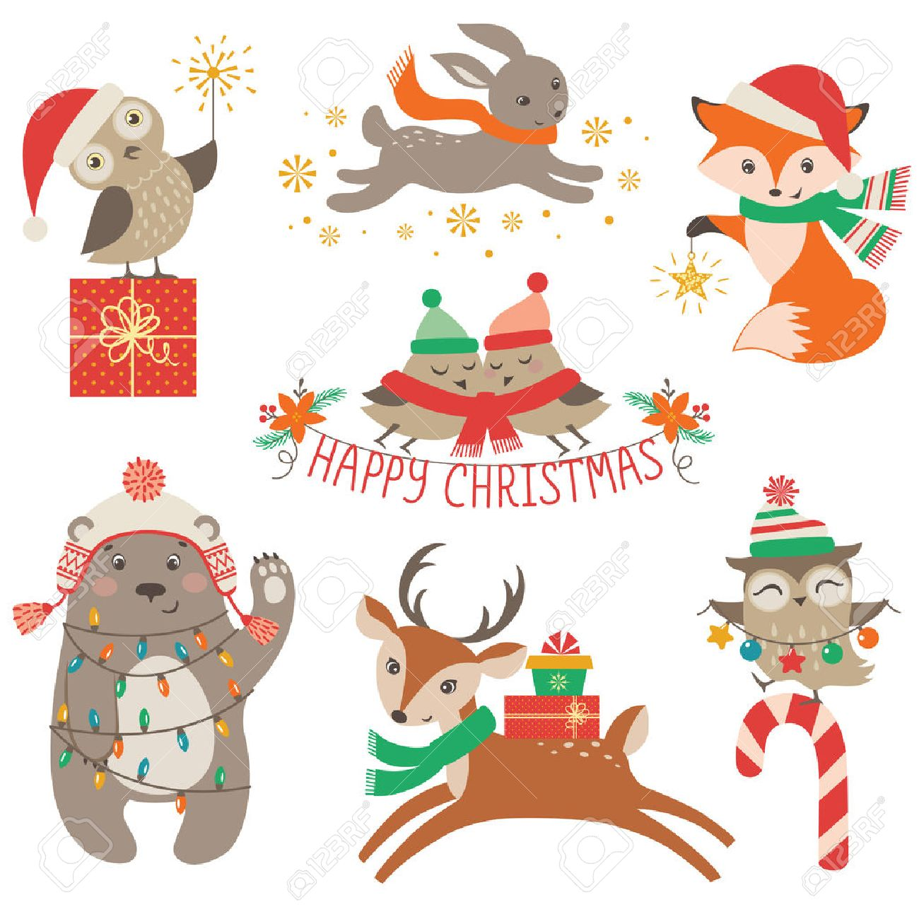 Fox with a hat new year or christmas animal isolated on white - Set Of Cute Christmas Design Elements With Woodland Animals Stock Vector 47012641