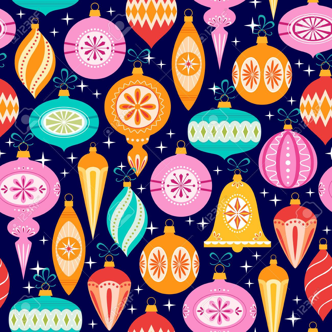 Bright Christmas pattern with multicolored ornaments on dark blue background. - 47012849