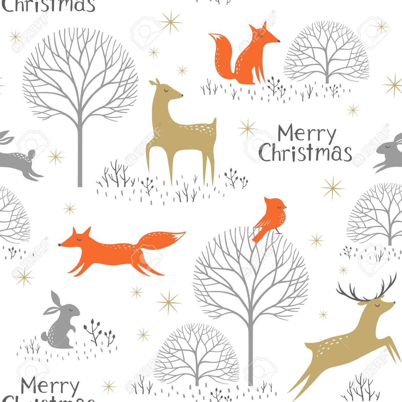 Christmas seamless pattern with woodland animals, trees and gold stars. - 48425794