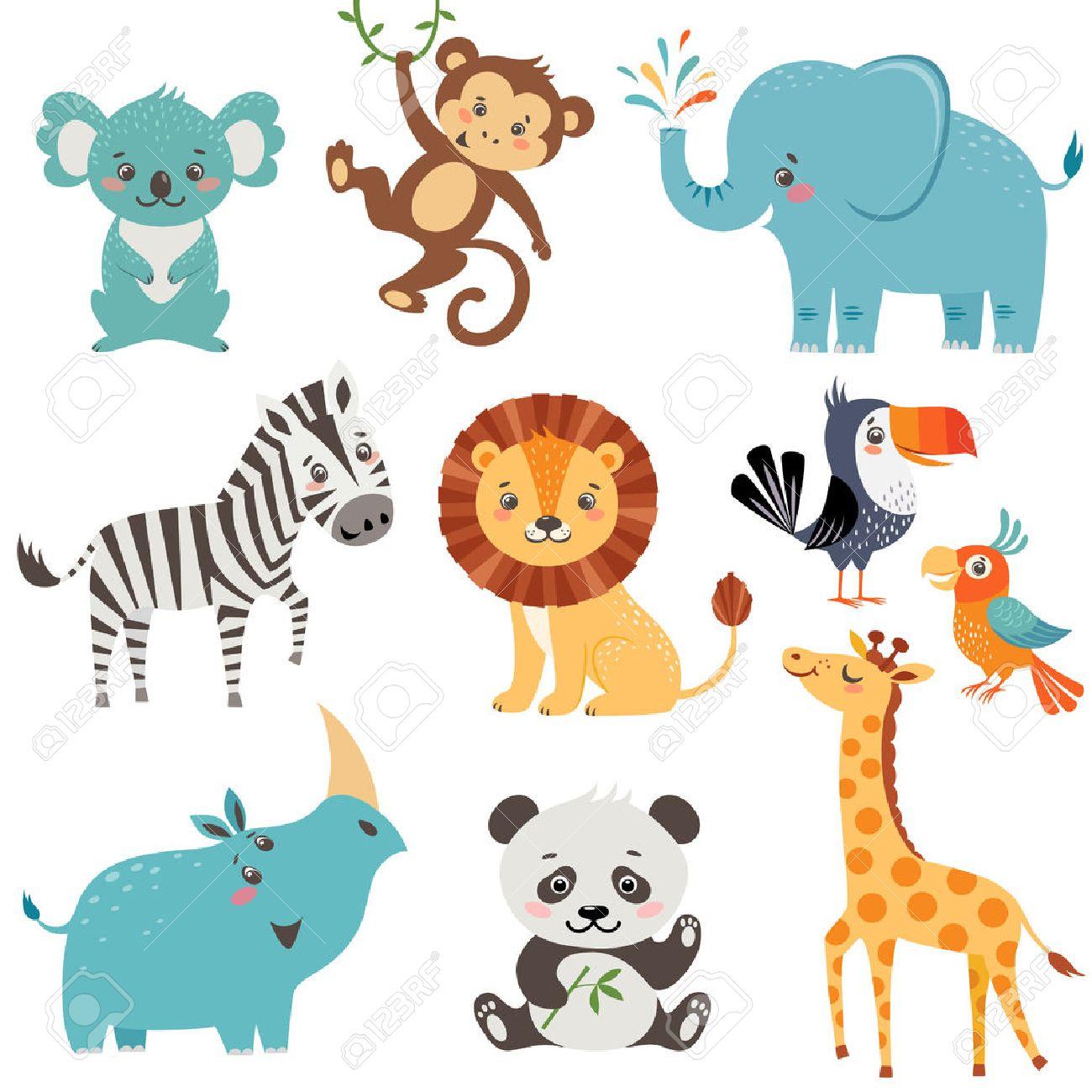 Set of cute animals isolated on white background - 51358394