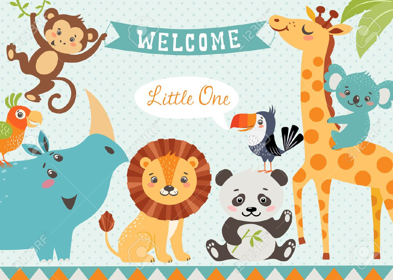 Baby shower design with cute jungle animals. Vector is cropped with Clipping Mask. - 52889580