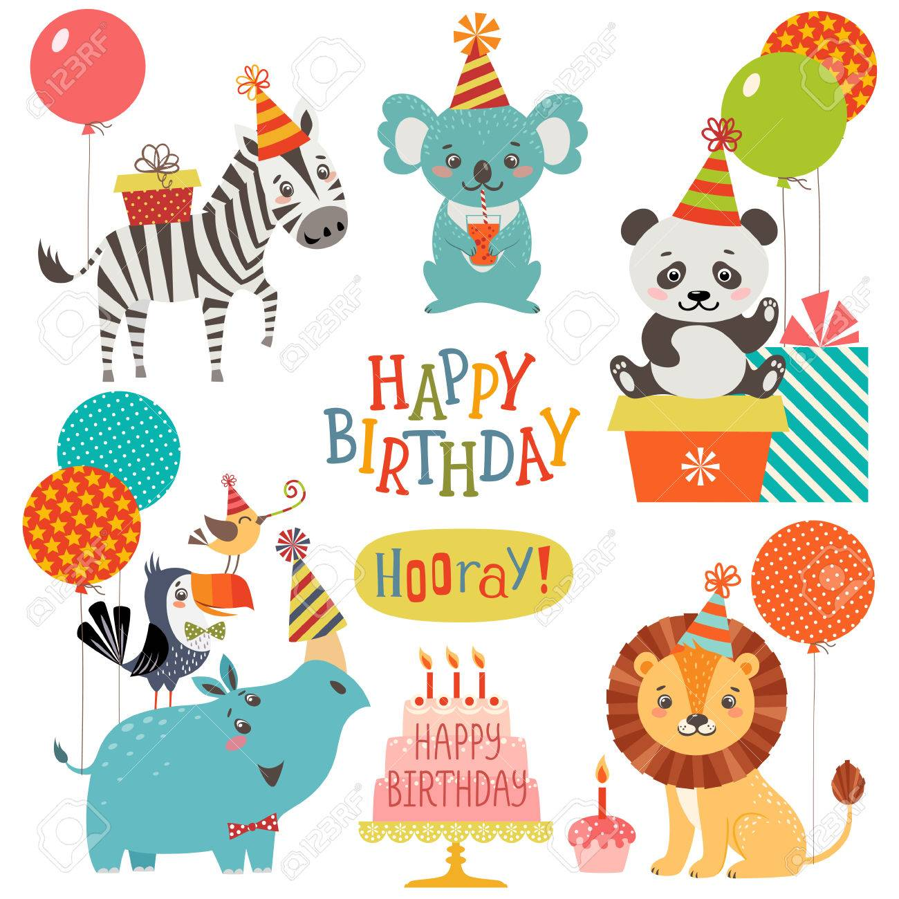 Set of cute animals for birthday design - 54421871