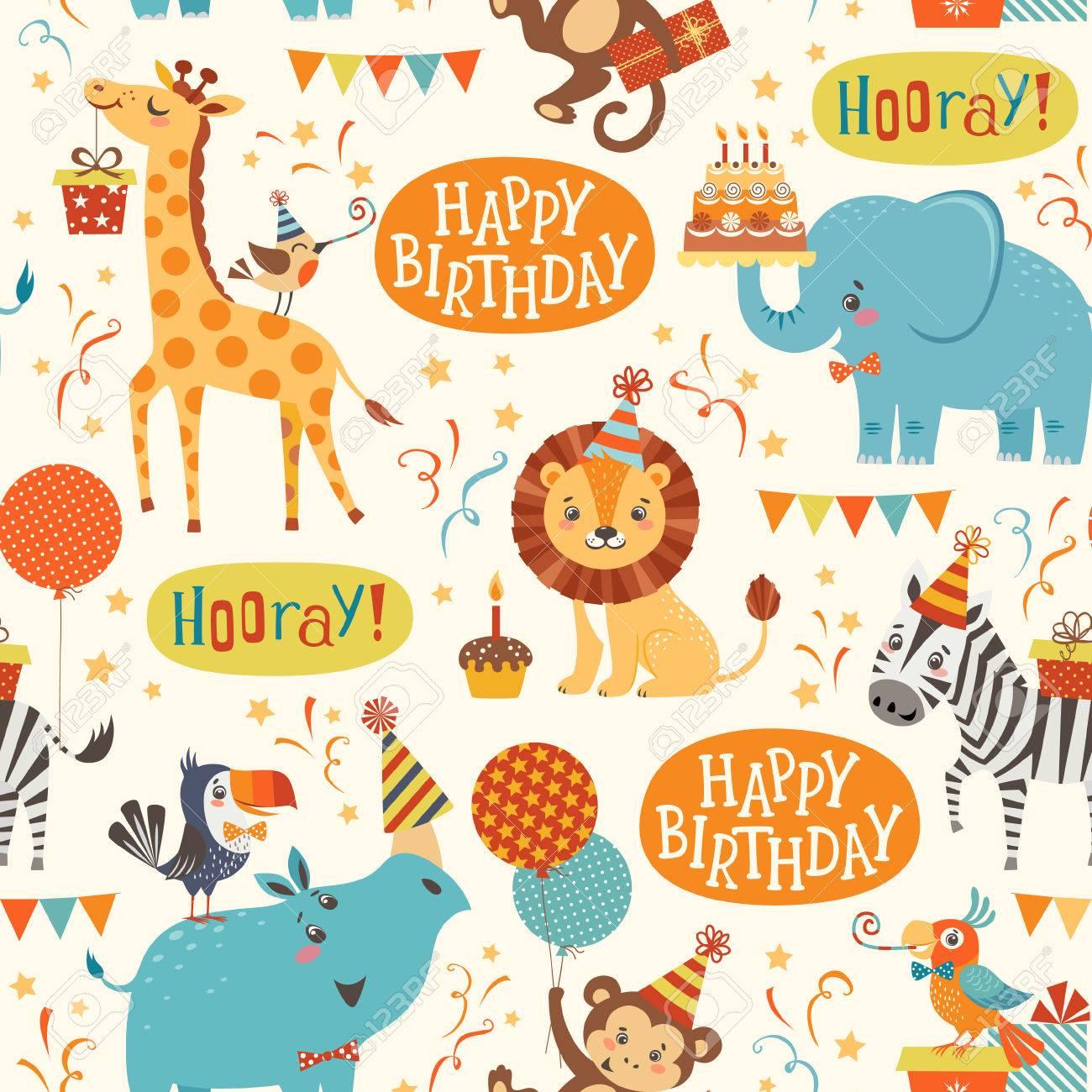 Seamless birthday pattern with cute jungle animals - 54421872