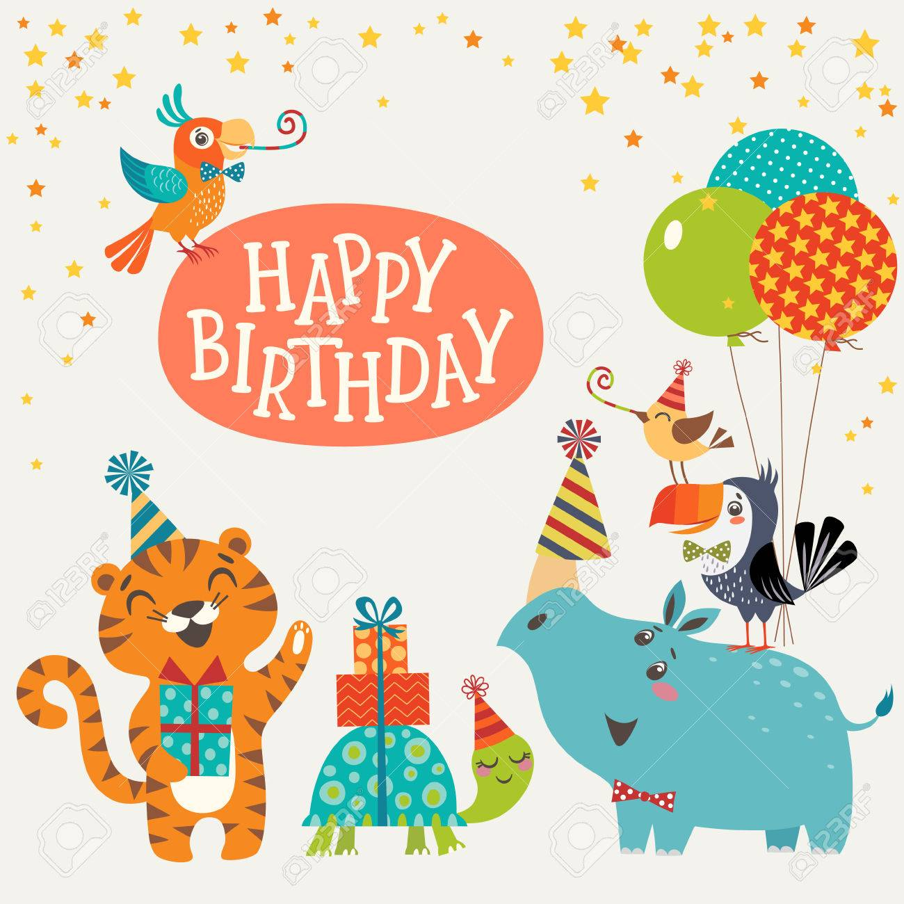 Happy birthday design with cute jungle animals. - 59114257