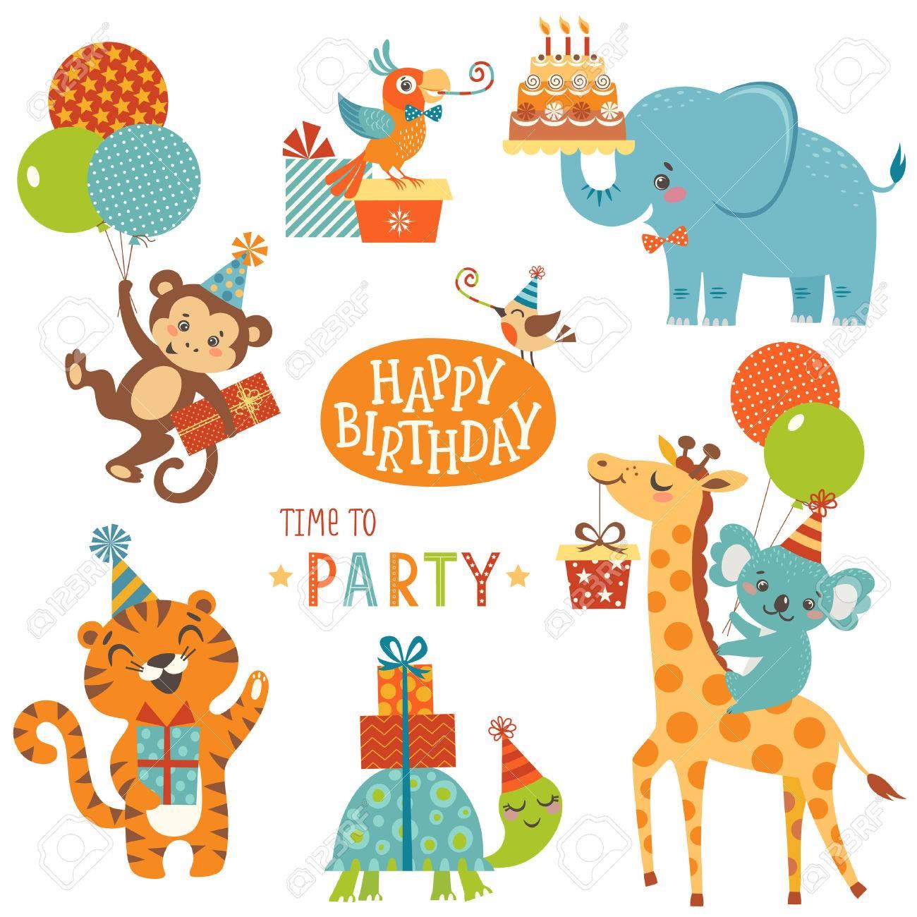 Set of cute animals for happy birthday design - 59196453