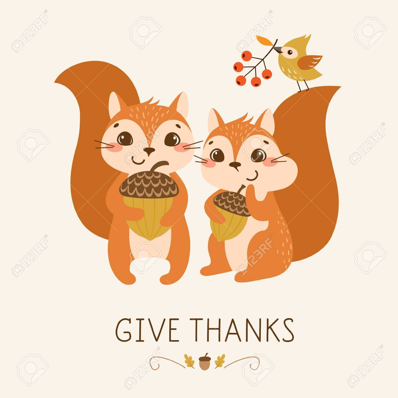 Thanksgiving greeting card with cute and funny squirrels. - 64887747