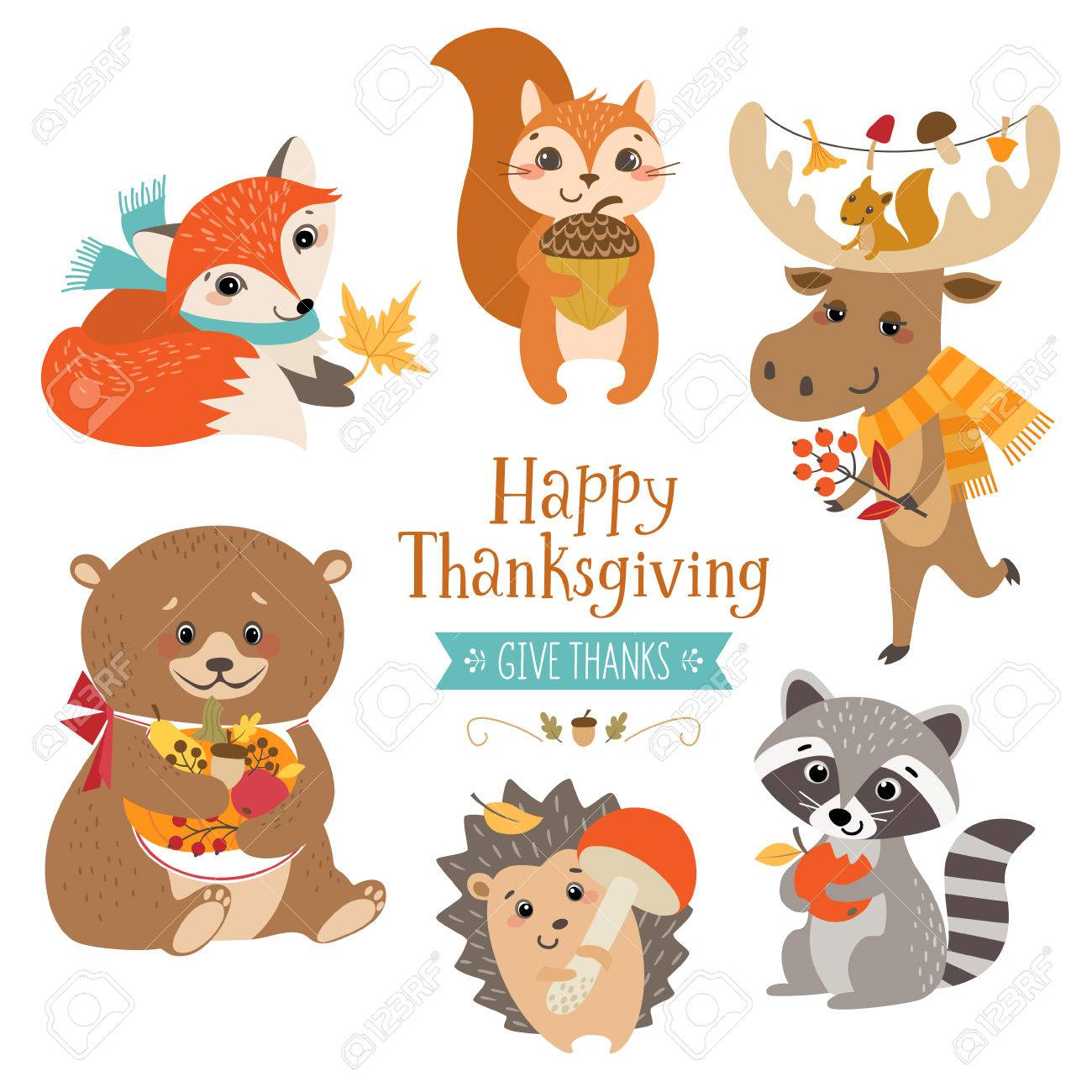 Cute forest animals for Thanksgiving design. - 69238242