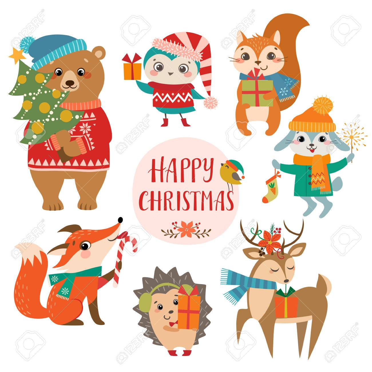Set of cute forest animals with Christmas presents. - 67957498