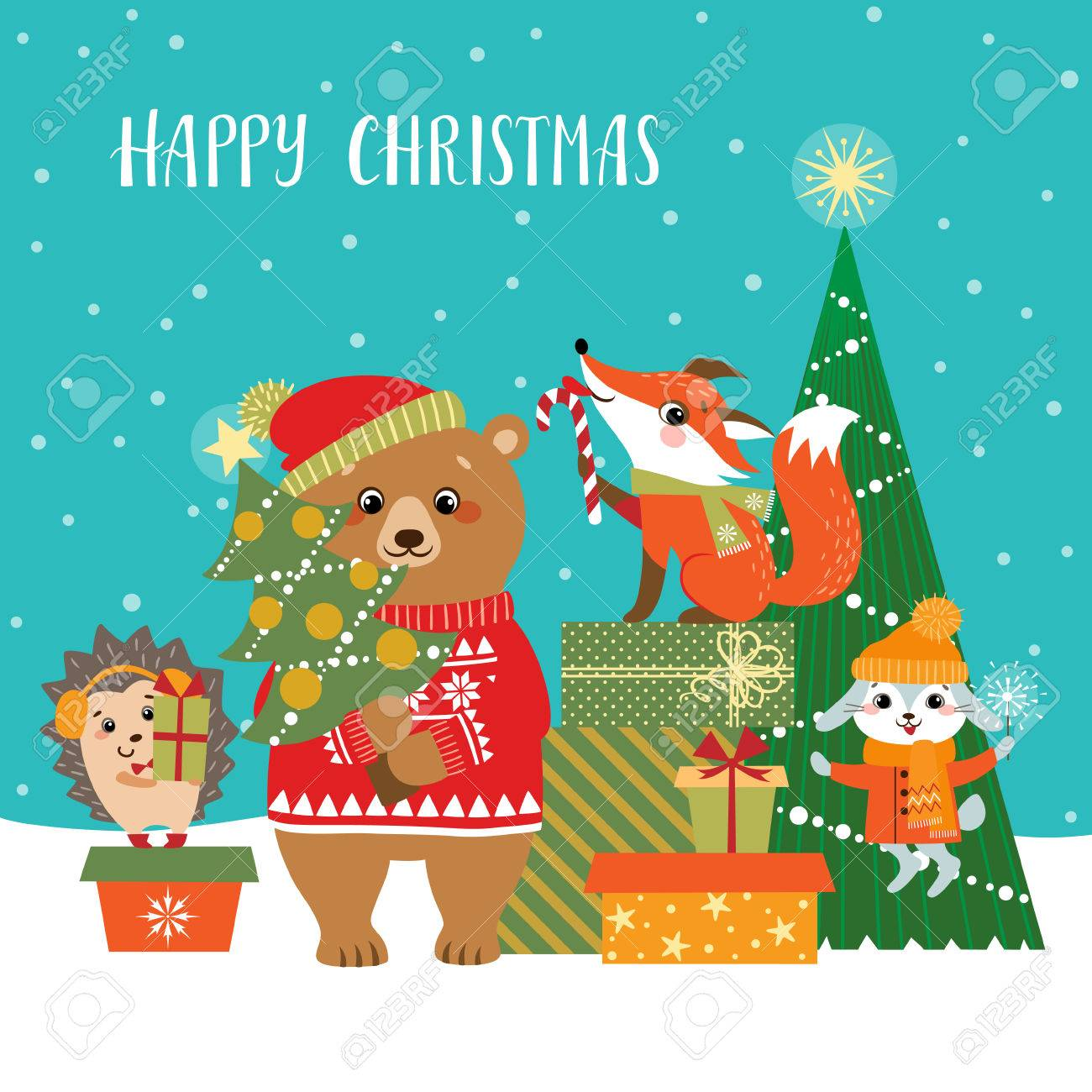 Christmas greeting card with cute forest animals, gifts and Christmas tree. - 66546090