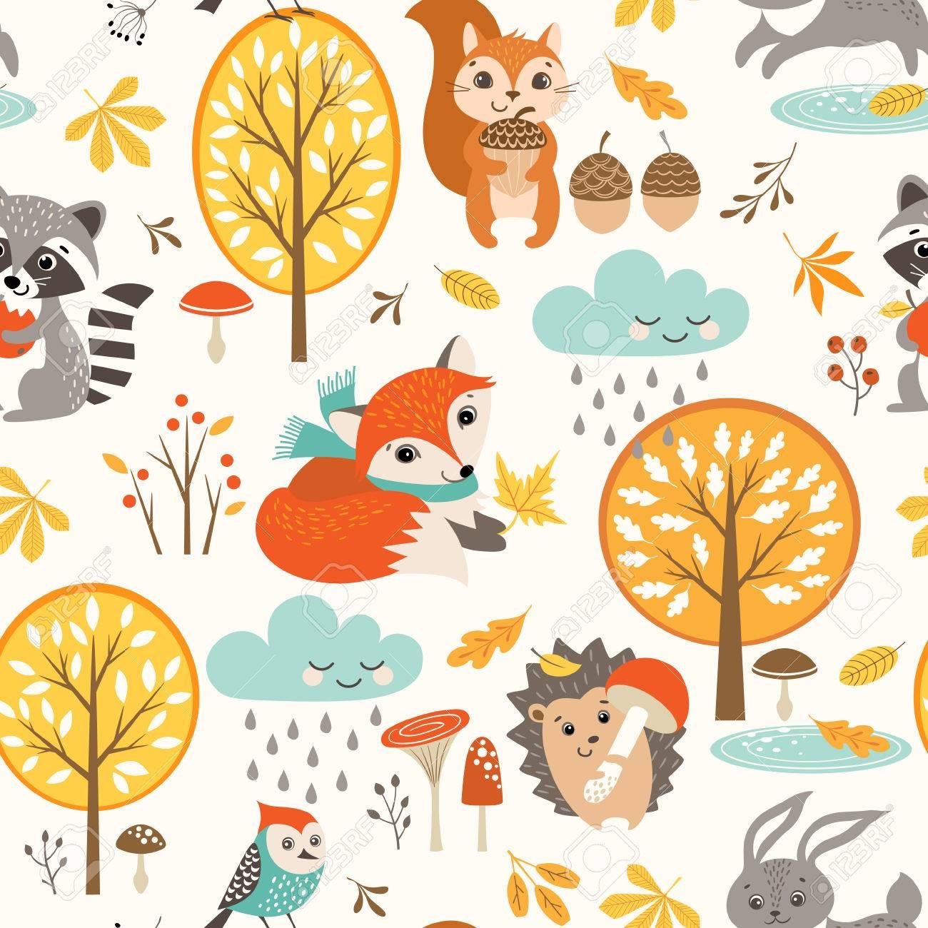 Set of autumn symbols pattern. - 85066596