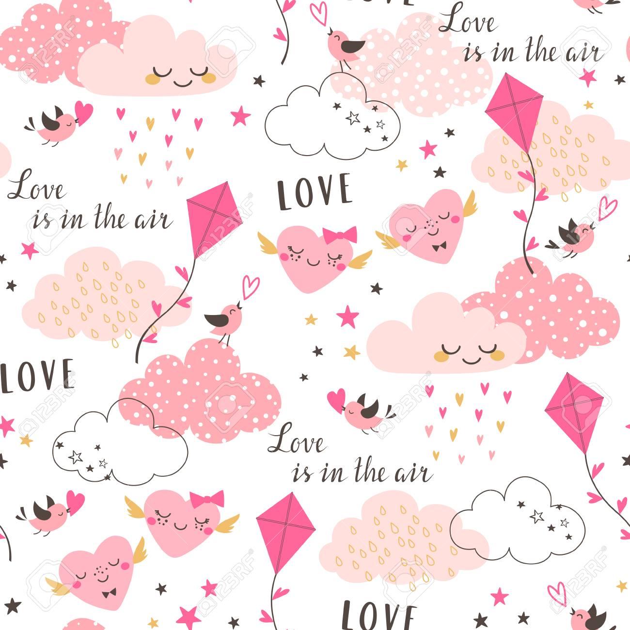 Modele Sans Couture De Valentine Mignon Avec Nuages Roses Coeurs Cerf Volant Oiseaux Et Etoiles Sur Fond Blanc Clip Art Libres De Droits Vecteurs Et Illustration Image 94007952