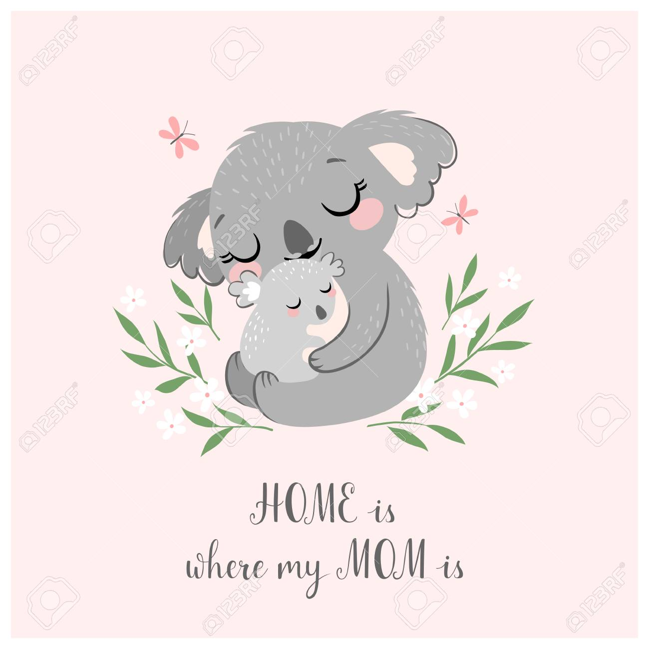 Mother's day greeting card or poster with cute koala mother and baby on pink background. - 96197825