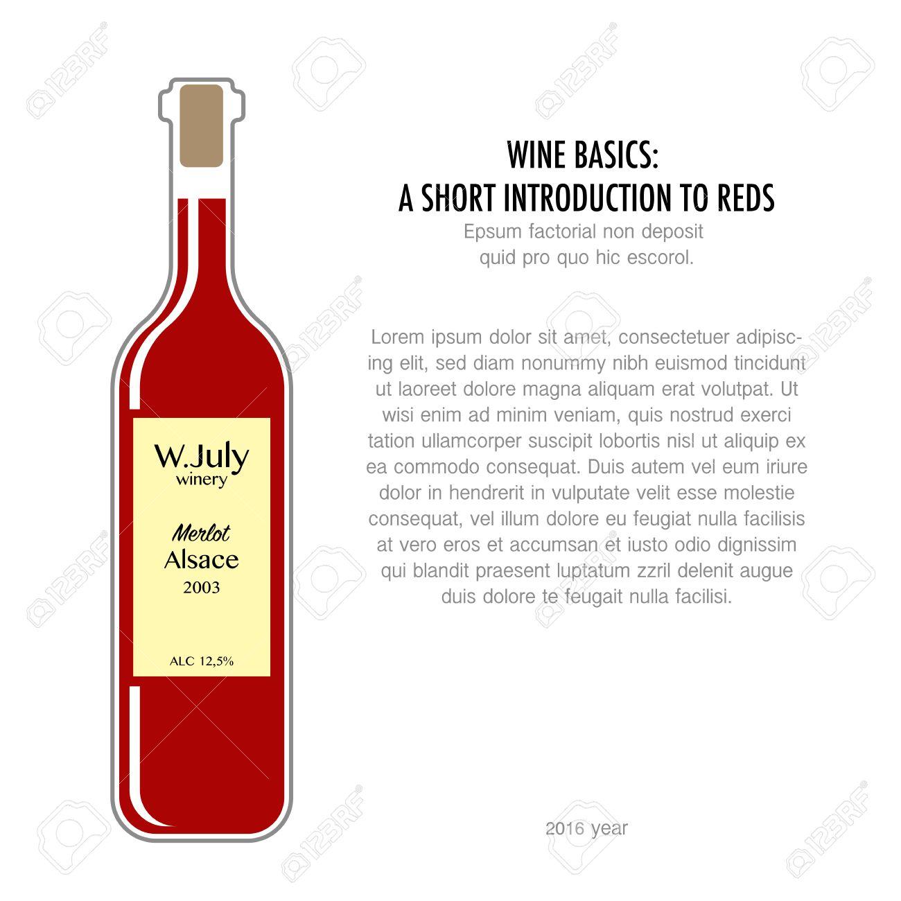 Bouteille de vin rouge dans un style plat isolé sur fond blanc. affiche Typographie pour la dégustation de vin ou une affiche d'information pour les