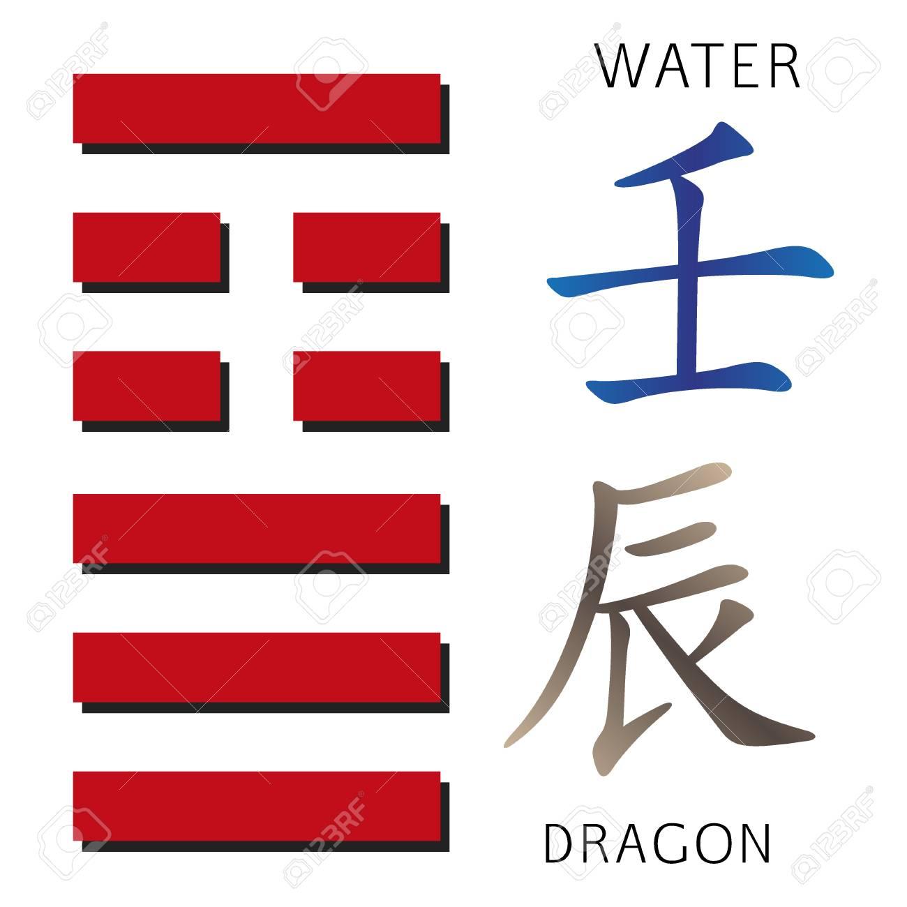 Symbol Of I Ching Hexagram From Chinese Hieroglyphs Translation