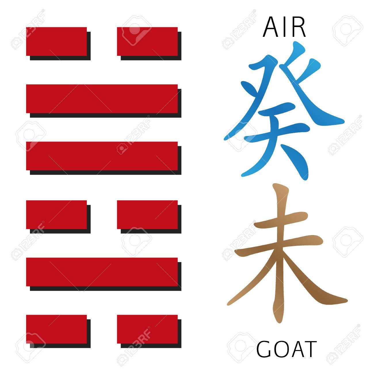 Symbol Of I Ching Hexagram From Chinese Hieroglyphs Translation Of