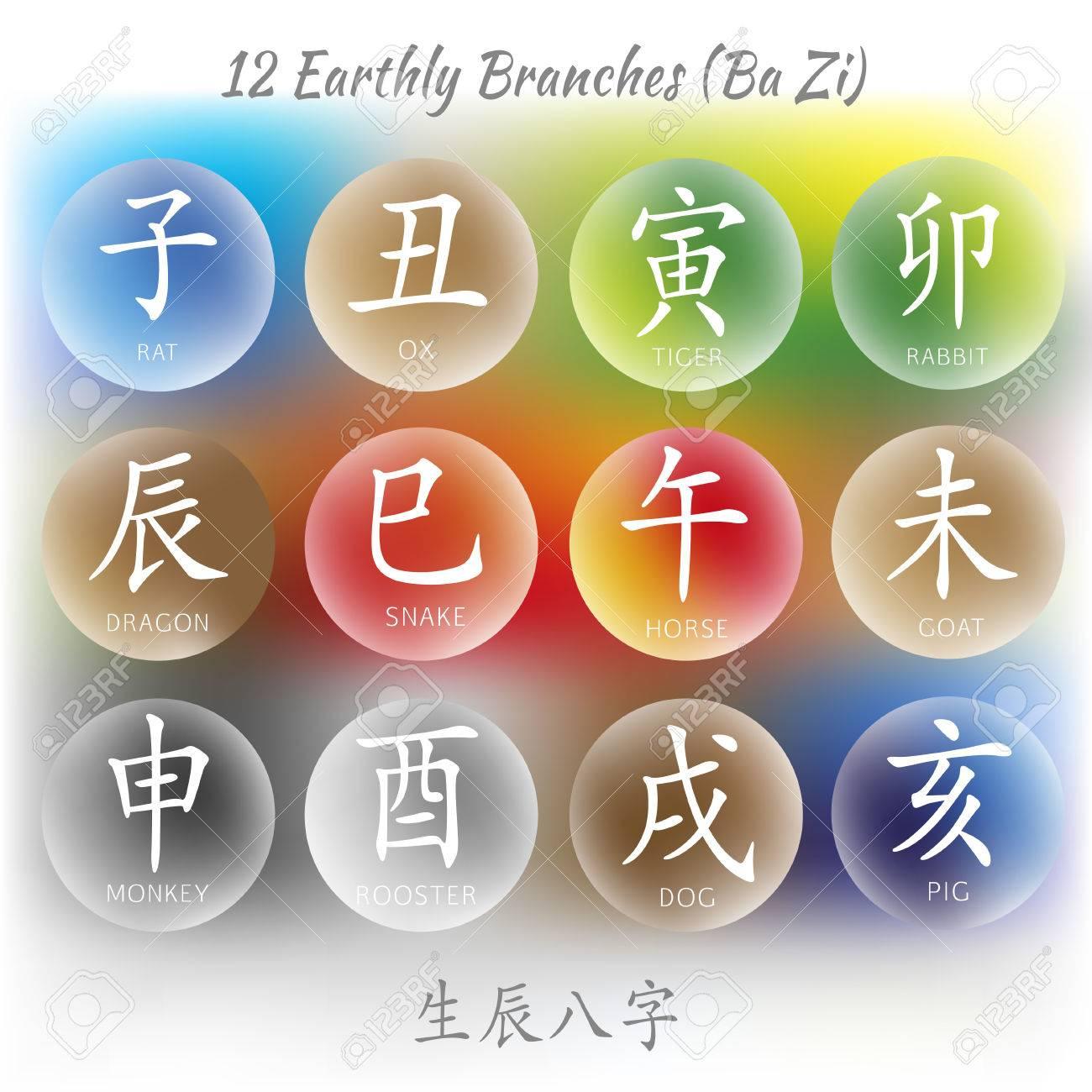 Set Of Symbols From Chinese Hieroglyphs Translation Of 12 Zodiac