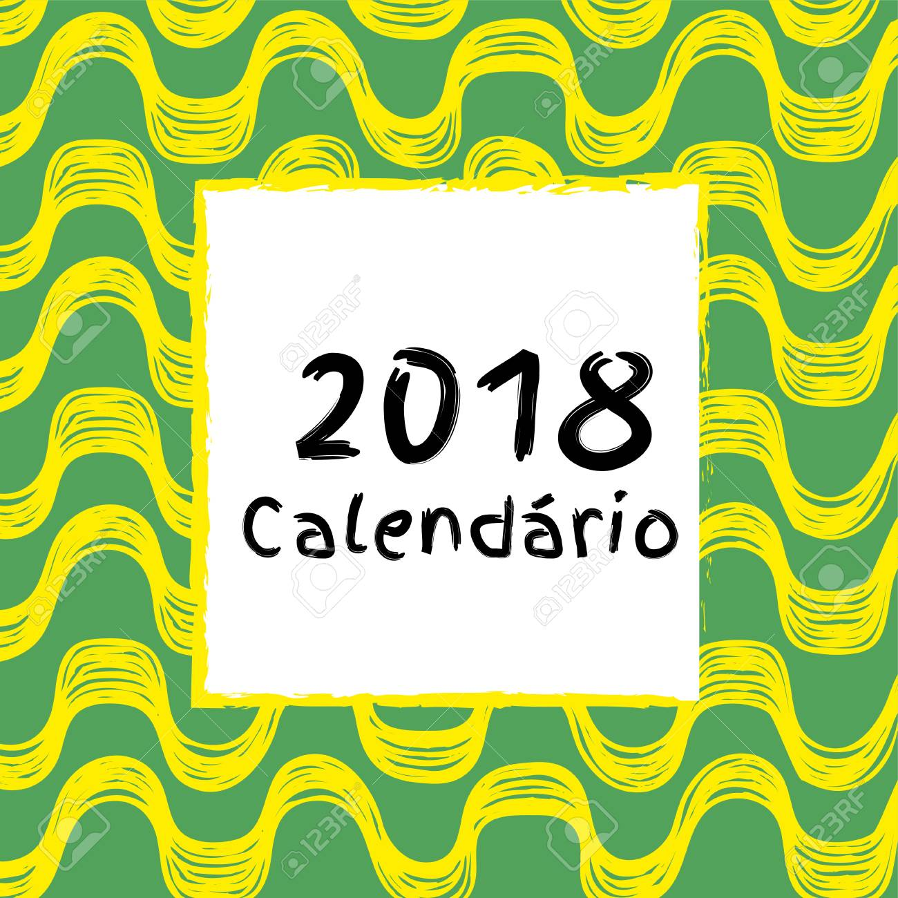 Calendario 2018 Versión Portuguesa Y Brasileña Ilustración Del Vector Con El Modelo De Ipanema
