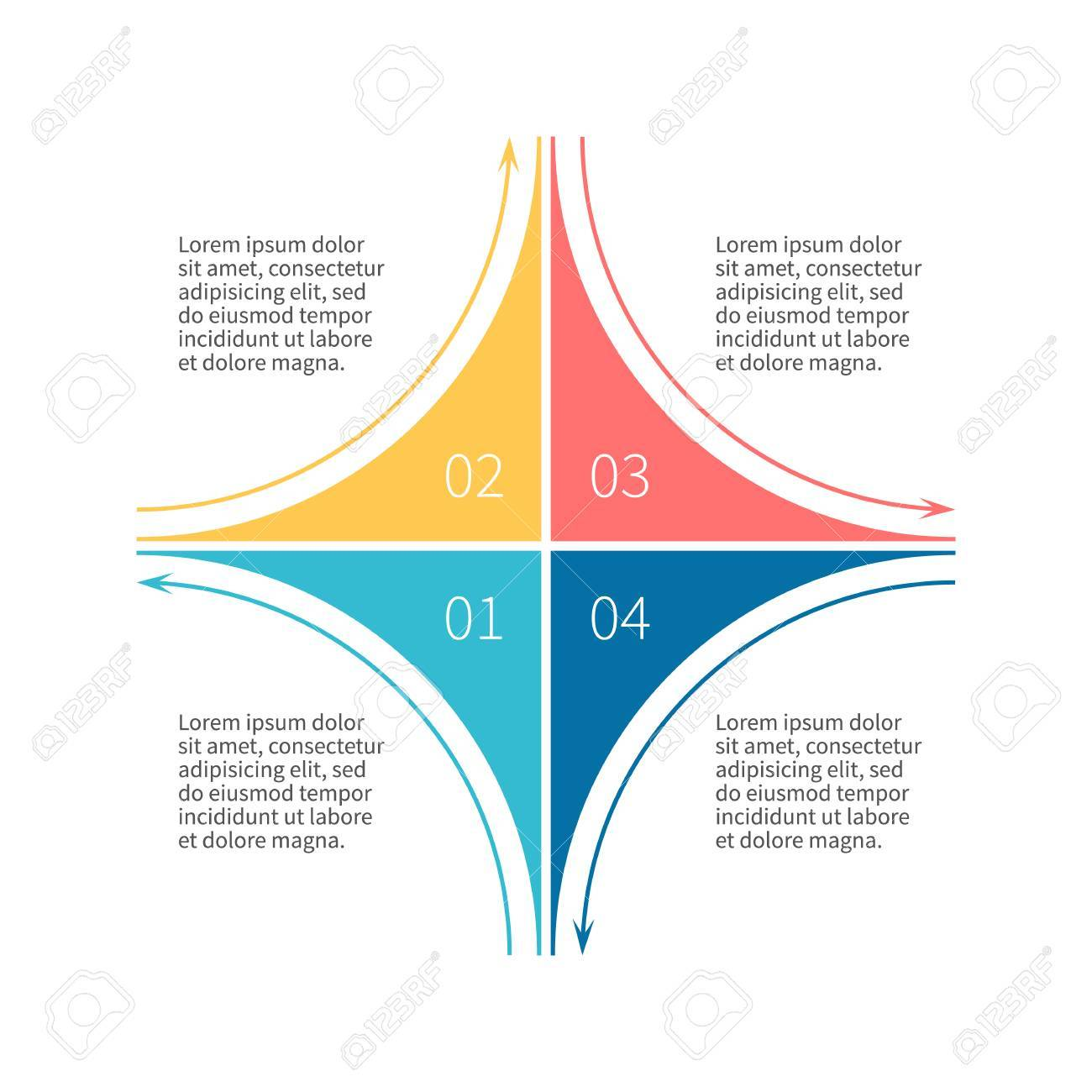 55488550 infographics step by step star diagram chart graph with 4 steps options parts processes with outline infographics step by step star diagram, chart, graph with 4