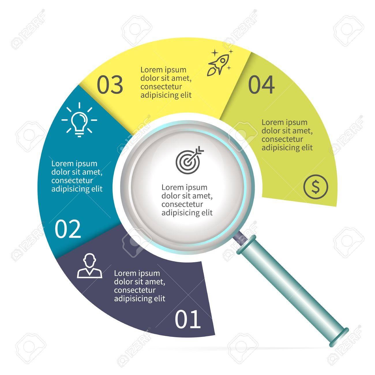 Diagrama Circular En Forma De Una Lupa. Gráfico Con 4 Partes ...