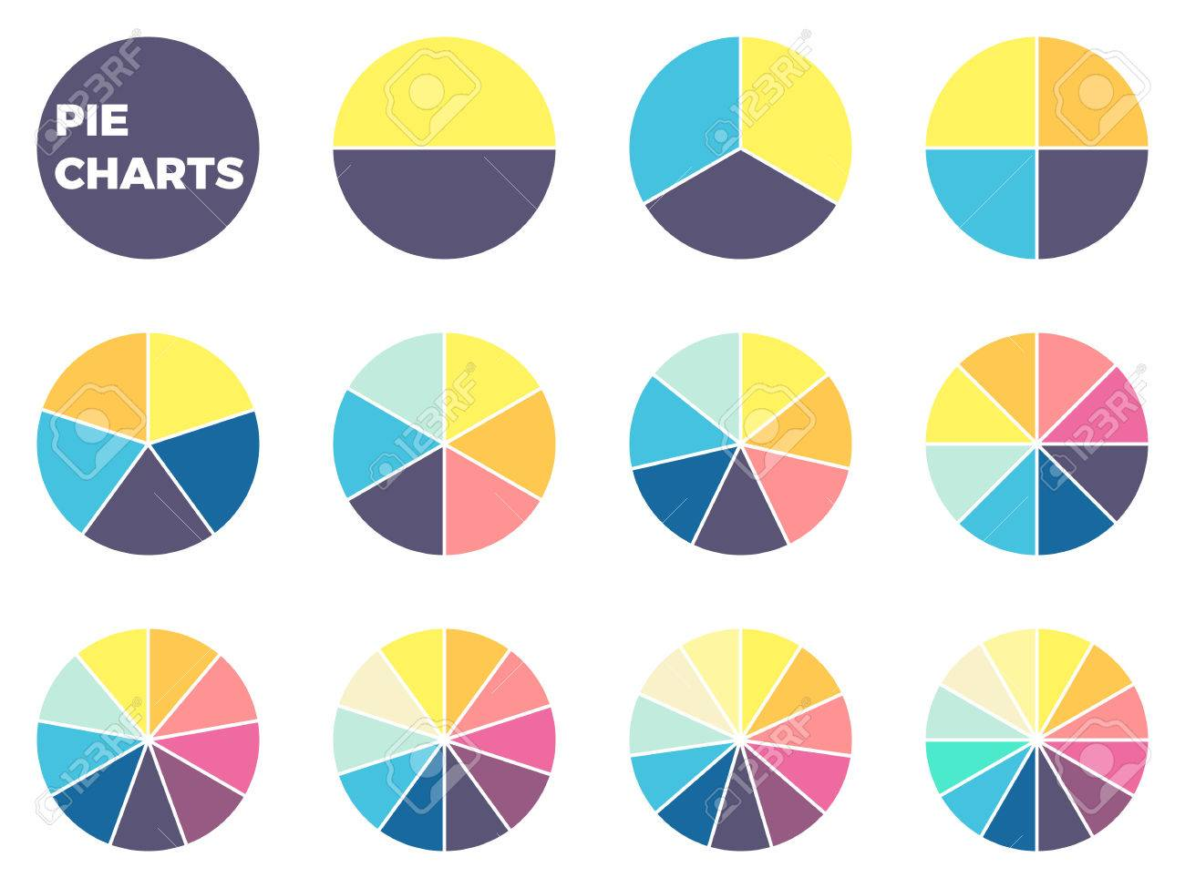 simple pie charts for infographics. diagrams with 1 - 12 parts