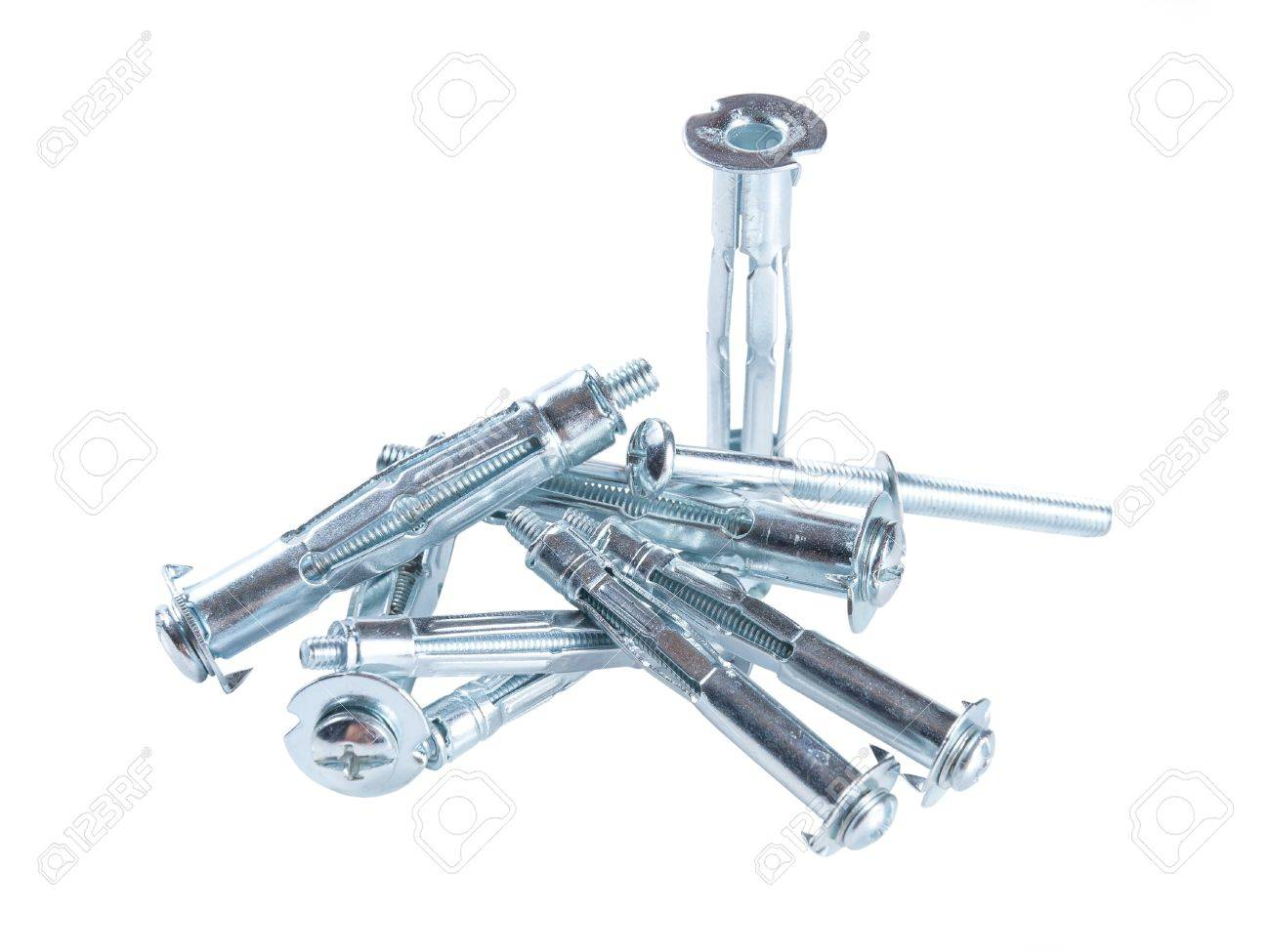 Metallic screws for gypsum cardboard isolated on white background, molly Stock Photo - 15308848