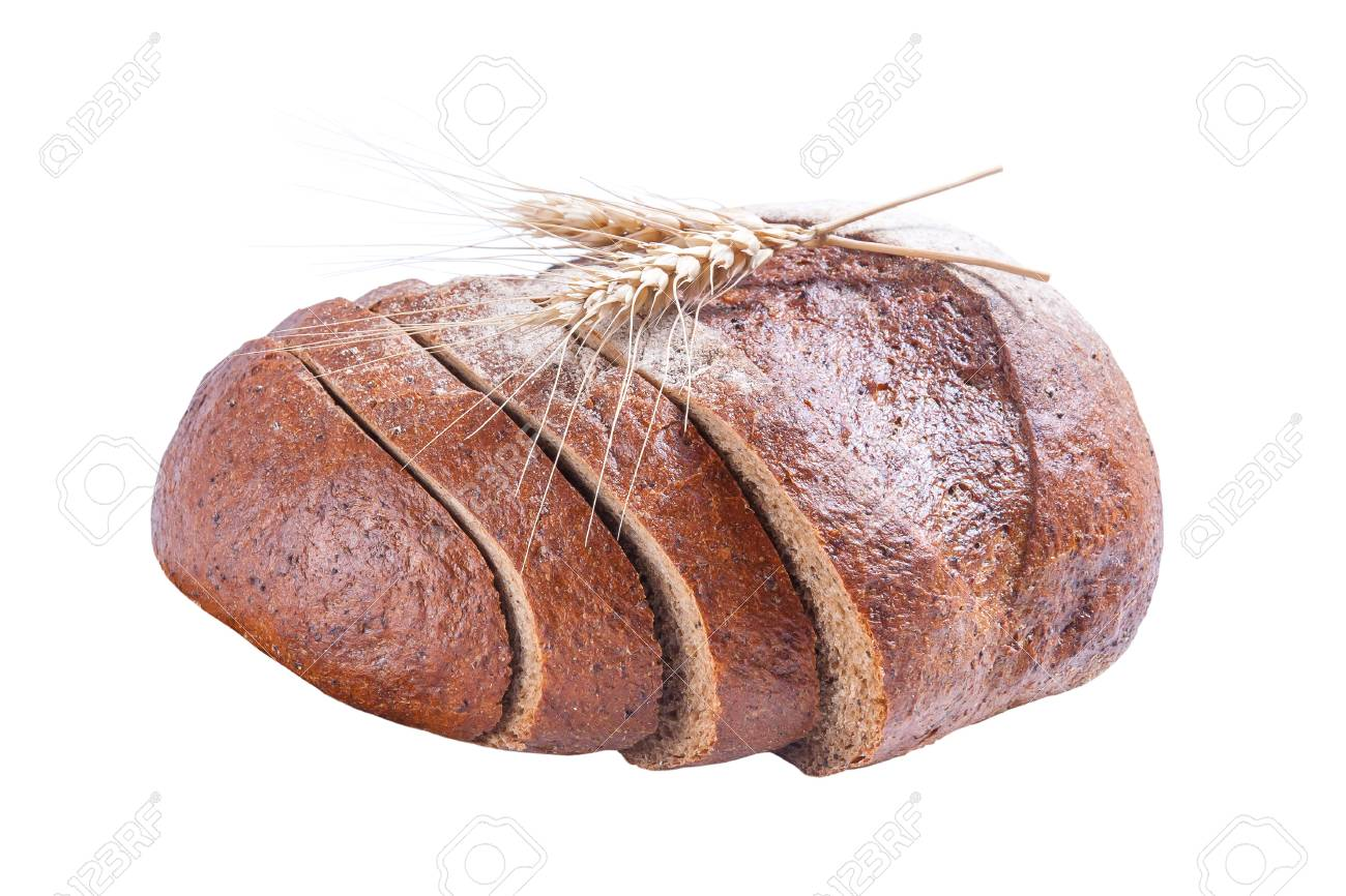 Fresh rye sliced bread with cone isolated on white background Stock Photo - 15526591