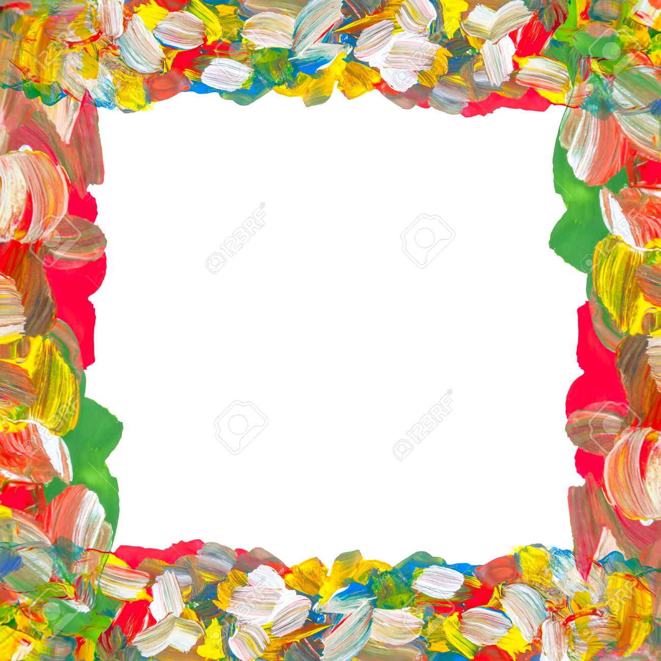 Abstract color paints frame on white background with place for your text Stock Photo - 16208692