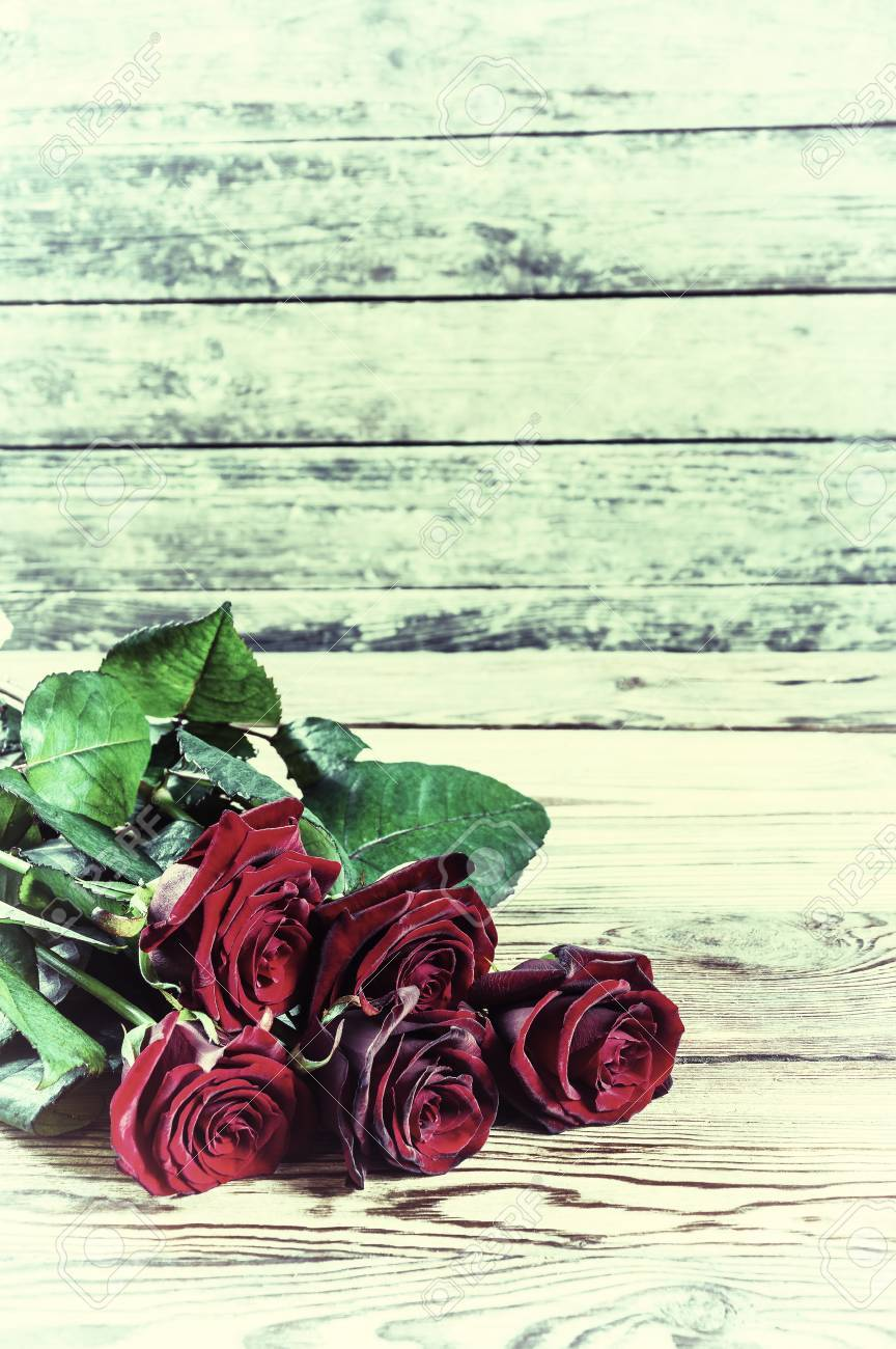 Vintage Lovely Rose Flowers On Wooden Table Rustic Design Stock